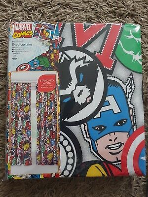 Brand new Marvel Comic Avengers Pencil Pleat Lined Curtains W 66 L54