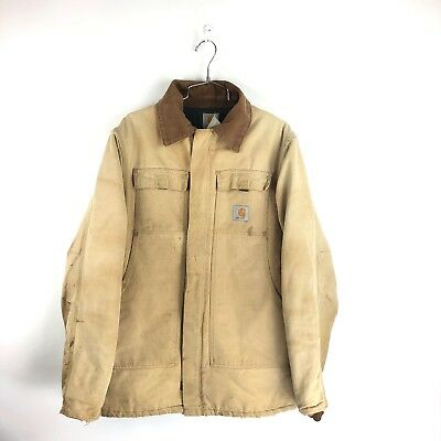 Vintage Carhartt Insulated Jacket Size Large L Coat Duck Canvas Distressed Tan