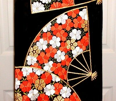 ANTIQUE JAPANESE GORGEOUS FUKURO SILK OBI w/ BEAUTIFUL FLOWERED HAND FANS !