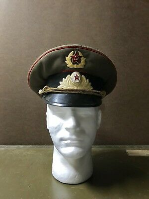 a97a36f1d3ae6 COLD WAR RUSSIAN Soviet Union Red Army Officer s Visor Hat Crusher ...