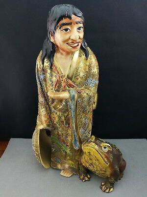19th Old ANTIQUE JAPANESE Satsuma Figure of man with frog - Meiji Period - 34cm