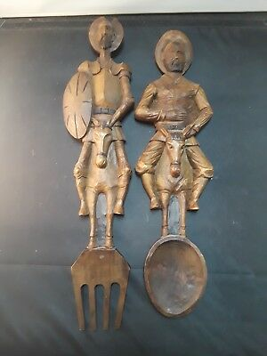 Vintage Don Quixote Sancho Panza Wood Fork & Spoon Wall Hanging Mid Century