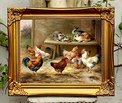 Fine Oleograph on Canvas of a Chickens & Rabbits after Edgar Hunt