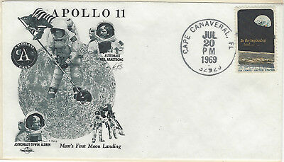 1969 Apollo 11 Man's First Moon Landing Cachet FDC Unaddressed