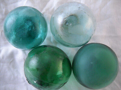4 Glass Floats Japanese, Korean with Sequential HASH MARKS ! Alaska Beach Combed