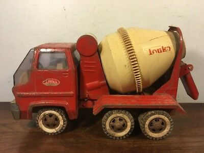 Vintage Tonka Gas Turbine Cement Truck Pressed Steel Toy Red And White