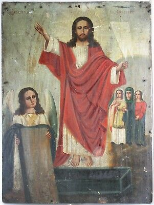 Antique Icon Resurrection of Christ Orthodox Russian Empire Oil Wood 430x320mm