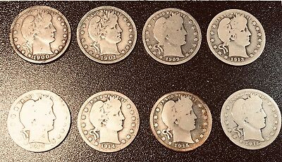 Lot of 8 Barber Quarters Silver Coins