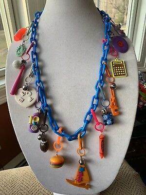Vintage New 80's Plastic Bell Charm Necklace Retro Party Heart Horseshoe 1980