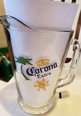 CORONA EXTRA, CLEAR GLASS BEER PITCHER 58oz. Large Sized, Heavy Duty Thick Glass