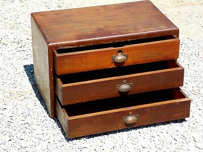 Antique Vintage Watchmakers and Jewelers Solid Wood 3 Drawer Spool Cabinet