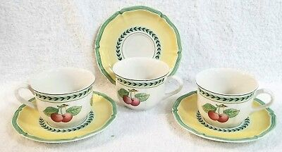 New Villeroy Boch French Garden Fleurence Cups & Saucers sets of 3