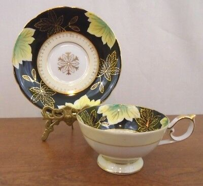Vintage Shafford Hand Decorated Tea Cup & Saucer Set Green and Gold Leaves Japan