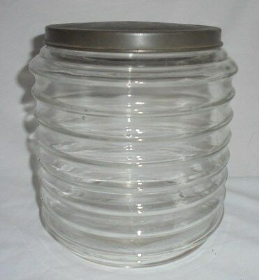 Antique vintage hooiser sellers glass jar apothecary ribbed large