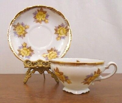 Vintage Shafford Hand Painted Tea Cup and Saucer Set Yellow Roses Japan