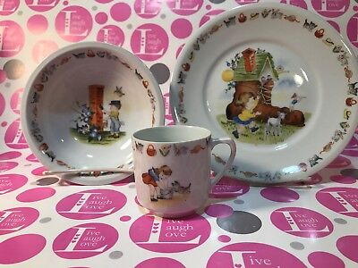"VINTAGE ""REAL - S. PAULO""  Child's 3 piece NURSERY RHYME Dish Set Made In Brazil"