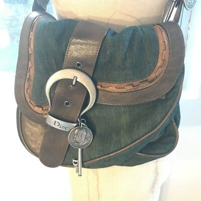 02560898304b Christian Dior Green Denim Double Gaucho Saddle Bag
