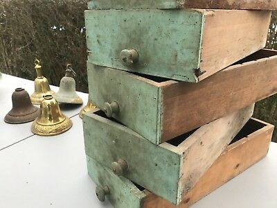 Lot of 6 Antique Primitive Green Paint Folk Art Wooden Cabinet Drawers