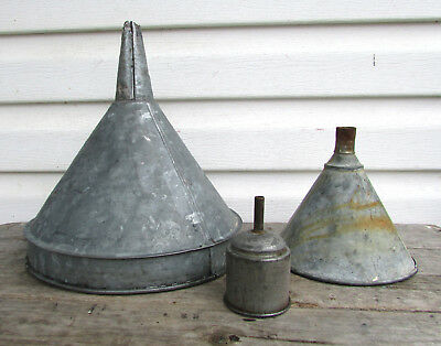 Vintage Metal Funnel Lot Antique Galvanized Gas Station Oil Farm Old Lamp Shade