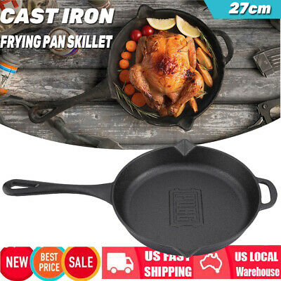 Cast Iron Skillet 10.6 Inch Fry Pan Oven Pre-Seasoned Cookware Cooking Stove Pot