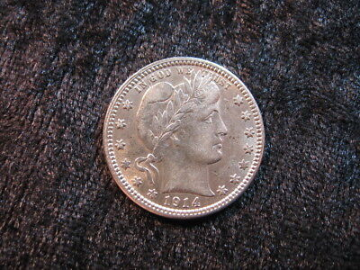 1 old SILVER coin USA 25 cents Barber quarter 1914