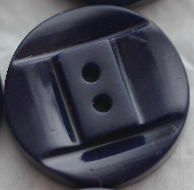 "N142/  10 Dark Navy Blue Chunky Casein Plastic Button 7/8"" Quantity Discount"