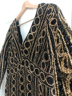 Vintage Gold & Black Dress 70's 80's Sparkle Glitter