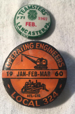 2, Union Pin Backs 1960 Operating Engineers & 1967 Teamsters