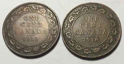 Lot of 2 - Canada 1913 & 1916 Large One Cent Coins - King George V