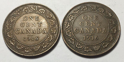 Lot of 2 - Canada 1916 Large One Cent Coins - King George V