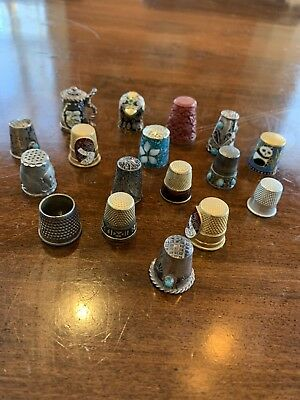 Mixed Lot Vintage THIMBLES Metal Enamel Some Sterling