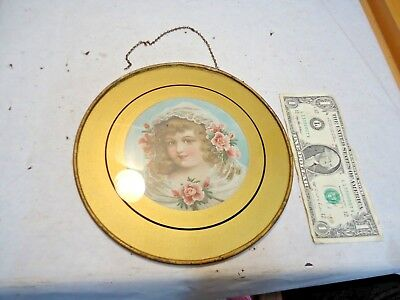 """vintage Victorian 8"""" Glass Chimney Flue Cover w/ Gold Litho Print Young Girl NR"""