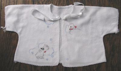 True Vtg Baby Hand Embroidered Kittens Cats White Flannel Kimono Jacket