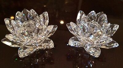 Set of Two Authentic Swarovski Crystal Water Lily Candle Holders