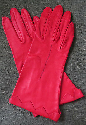 Women's Bacmo Red Leather Gloves Unlined Size 7