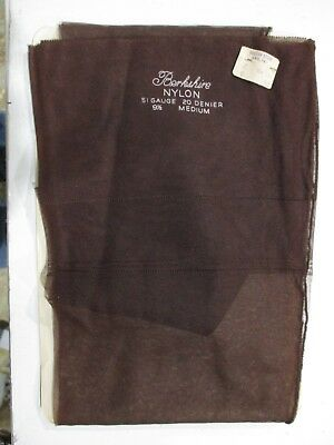 1Pr Vintage Berkshire Seamed Full Fashion Sheer Nylon Stockings 9 1/2 M Brown