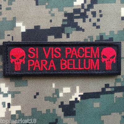 Si Vis Pacem Para Bellum Punisher Skull Tab Tactical Morale Hook Patch Red Dark