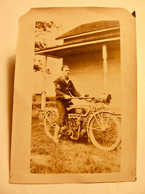 1920's or 1930's Photograph of a Sailor on a Henderson Motorcycle