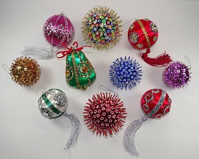 Vintage Lot of 10 Hand Made Christmas Ornaments Beads Sequins Jewels