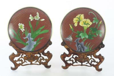 Vintage Chinese Enamel Brown Cloisonne Floral Plates Pair With Stand