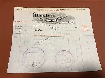 Vintage Signed Paper / Bill / Signed By Edison / 1906
