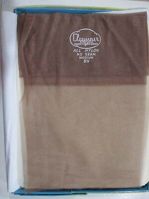 1 Pr Vintage Claussner Rht Flat Knit Sheer Nylon Stockings Size 8 1/2 M Beige