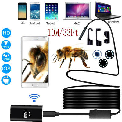 8 LED 10M WIFI Endoscope Wireless Borescope Inspection Camera For Android iPhone