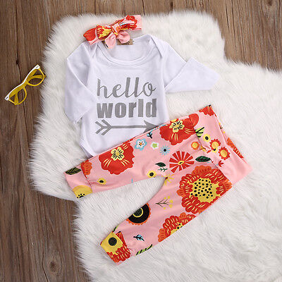 Newborn Baby Girls Hello World Top Rompers+Floral Pants Outfits Set Clothes