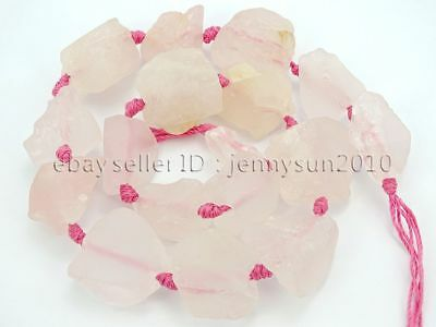 17Pcs Large Rough Natural 15mm - 30mm Clear Rose Quartz Gemstone Baroque Beads