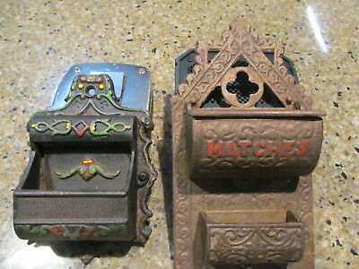 Vintage Pair of Cast Iron Match Stick Holder Wilton And A Double Match Holder Or
