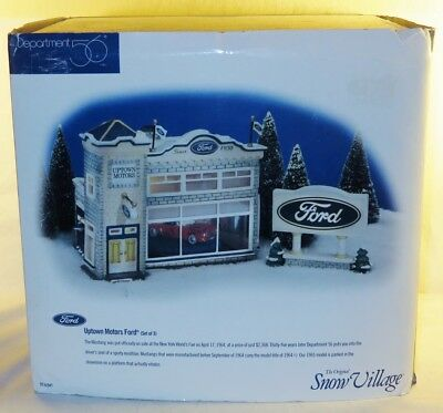 DEPT56 SNOW VILLAGE 54941 UPTOWN FORD SHELL & BOX ONLY, NO EXTRAS read shipping!