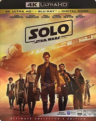 SOLO ~ A STAR WARS STORY ~ 4K ULTRA HD + Blu-Ray + Digital Code *New *Sealed