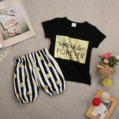 Baby Girls Summer Clothes Casual T-shirt Tops+Striped Shorts Pants Outfits 6-12M