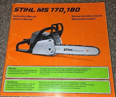 STIHL MS170 MS180 Chainsaw Owners Operating Manual